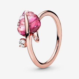 Pandora Pink Murano Glass Leaf Ring